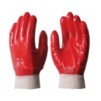 Перчатки рабочие бензомаслостойкие, красные (манжет-резинка)