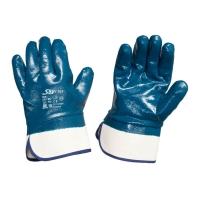 Перчатки рабочие кислотостойкие с нитриловым покрытием, синие (манжет-крага)