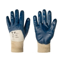 Перчатки рабочие кислотостойкие с нитриловым покрытием, синие (манжет-резинка)
