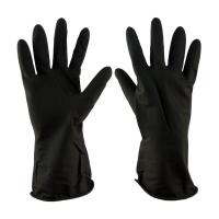 Перчатки рабочие кислотостойкие нитриловые, черные (манжет-крага, длина 34 см)